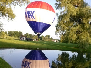 hot air balloon taking off at the chalet of canandaigua