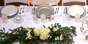 table with places set for dining